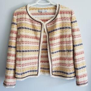 Zara Southwestern Aztec Print Fringed Tweed Blazer